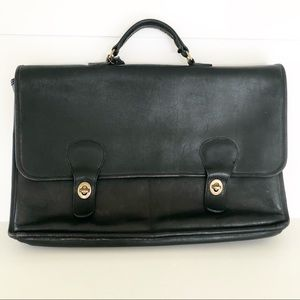 Coach Vintage Black Leather Laptop Case Briefcase